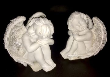 Cherub with GLITTER WING Resting on KNEEL (Set of 2) 937387